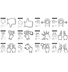 Touch gestures line icon set vector