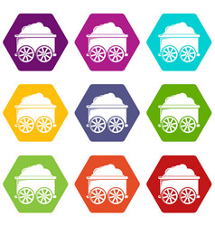 Train wagon icons set 9 vector