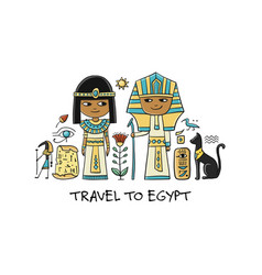 Travel to egypt greeting card for your design vector