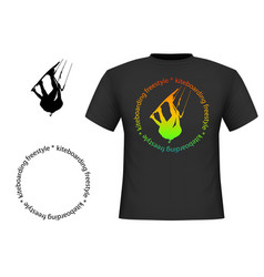 trendy black cotton t-shirt with image vector image
