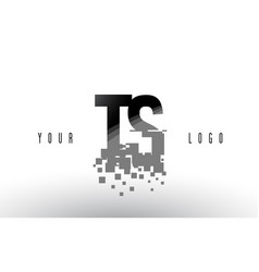 Ts t s pixel letter logo with digital shattered vector