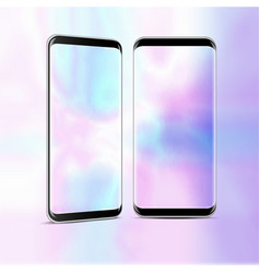 two high detailed realistic smartphone vector image
