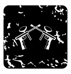 Two paintball gun icon grunge style vector image