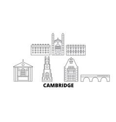 United kingdom cambridge line travel skyline set vector
