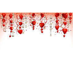 valentine background with hanging hearts vector image