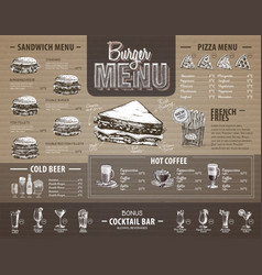 Vintage burger menu design on cardboard fast food vector
