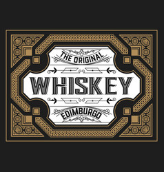 Vintage card for whiskey or other liquor vector