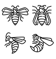 Wasp icons set outline style vector