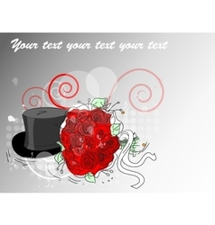 Wedding card bouquet and the cylinder vector