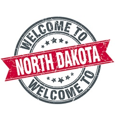 welcome to North Dakota red round vintage stamp vector image