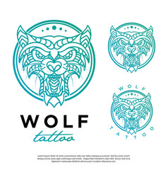 wolf logo with a line art tattoo style vector image