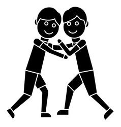 wrestling - fight icon black vector image