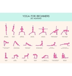 Yoga for beginners poses stick figure set vector
