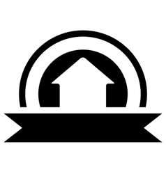 black real estate icon with cottage vector image