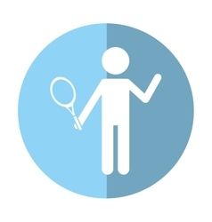 character player tennis and racket shadow vector image vector image