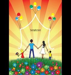 Happy family spends time together on nature vector image