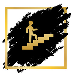 man on stairs going up golden icon at vector image vector image
