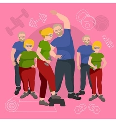 Old people man and woman with different body mass vector