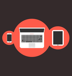 phone notebook and tablet in red circles vector image