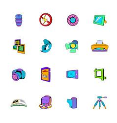 photography set icons set cartoon vector image