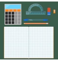 School supplies flat set vector