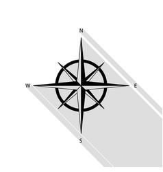 wind rose sign black icon with flat style shadow vector image vector image