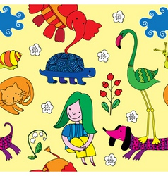 animals and girl vector image vector image