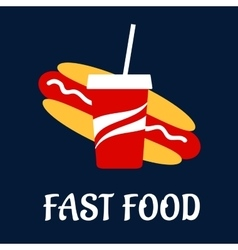 Fast food hot dog with soda vector image