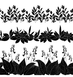 Flowers and grass silhouette set seamless vector image vector image