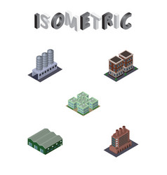 Isometric building set of clinic house water vector