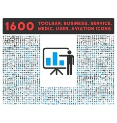 Presentation Icon with Large Pictogram Collection vector image