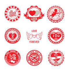 set of love stamps in red vector image