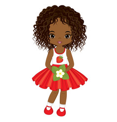 cute little african american girl vector image vector image