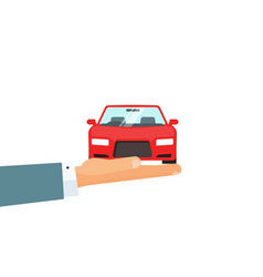 hand holding car concept of automobile vector image vector image