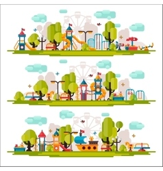Kids Playground drawn in a flat style vector image vector image