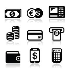Money atm - cash mashine icons set vector image