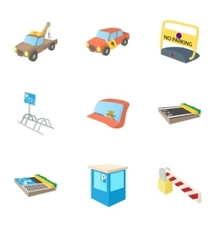 Parking area icons set cartoon style vector