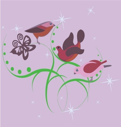 three cute little birds vector image