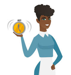young african-american cleaner holding alarm clock vector image vector image