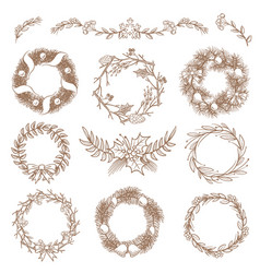 christmas hand drawn wreaths border frames with vector image