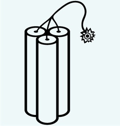 Dynamite with burning wick vector image