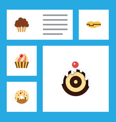 Flat cake set of biscuit doughnut sweetmeat and vector
