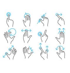 hand touchscreen gestures vector image vector image