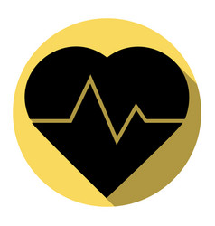 heartbeat sign flat black vector image