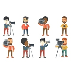set of media people characters vector image