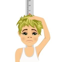 Unhappy teenager boy measuring his growth vector