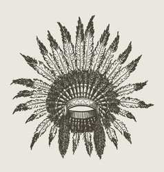 warchief indian headdress vector image