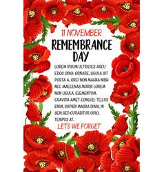 11 november remembrance day poppy card vector