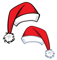 2 cartoon santa hats vector