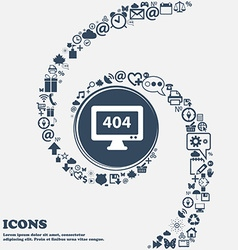 404 not found error icon in the center Around the vector image